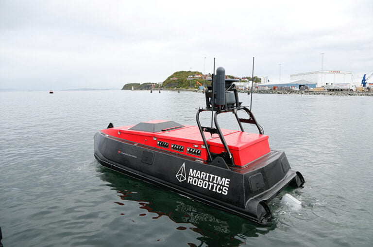 An autonomous vessel from Maritime Robotics in the Trondheim test bed