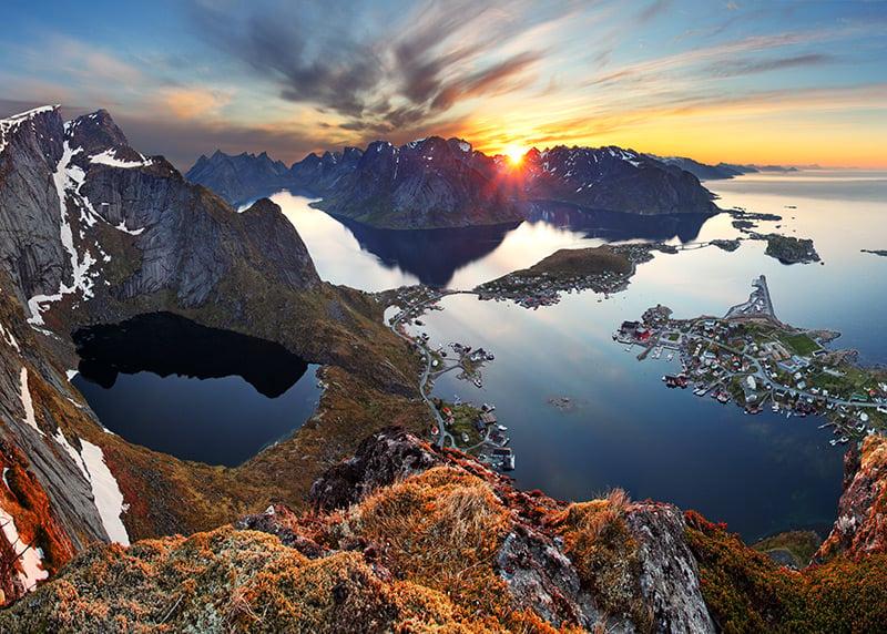 Sunset on the Lofoten islands in Norway