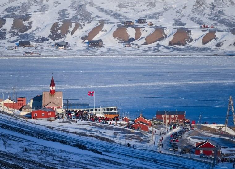 People gathering in Longyearbyen, Svalbard