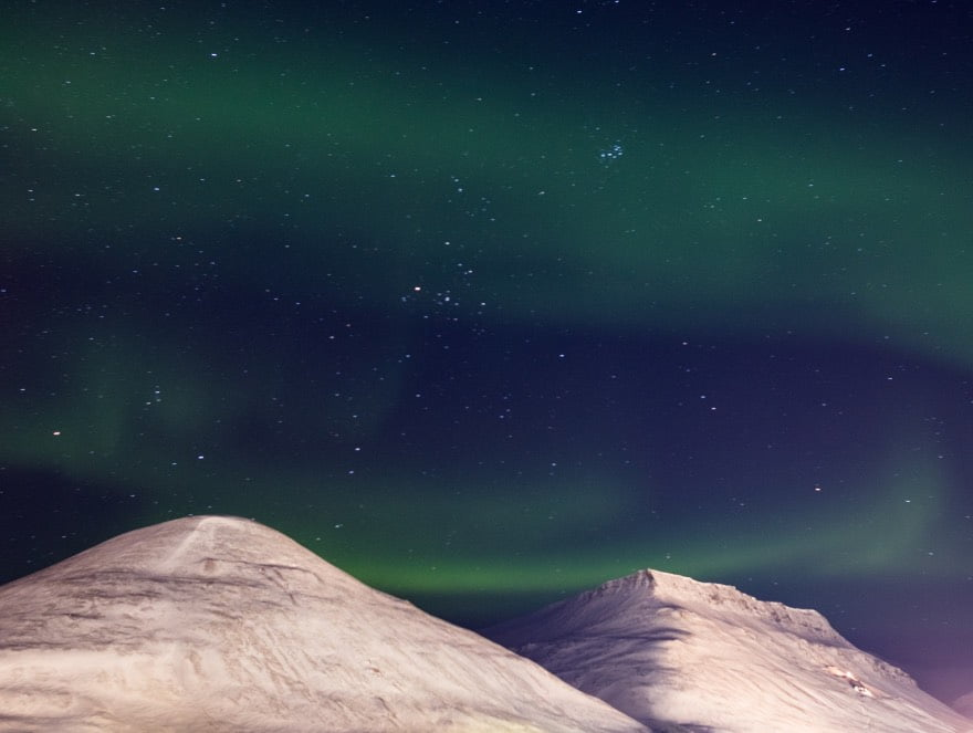 Watching the northern lights over Svalbard