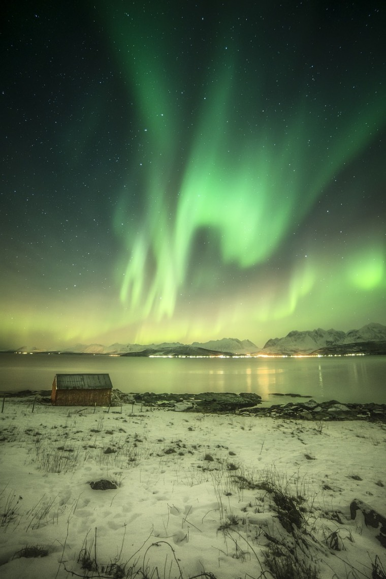 Northern lights display lighting up the polar night