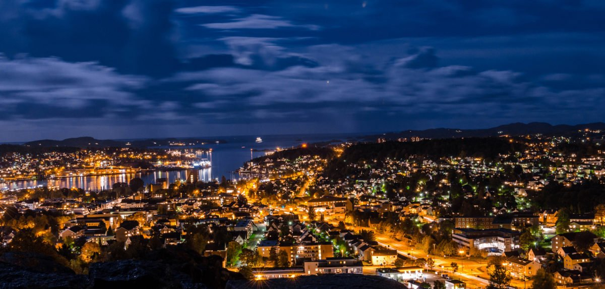 Sandefjord at night