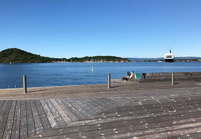 The decking on the waterfront promenade at Sørenga, Oslo, Norway