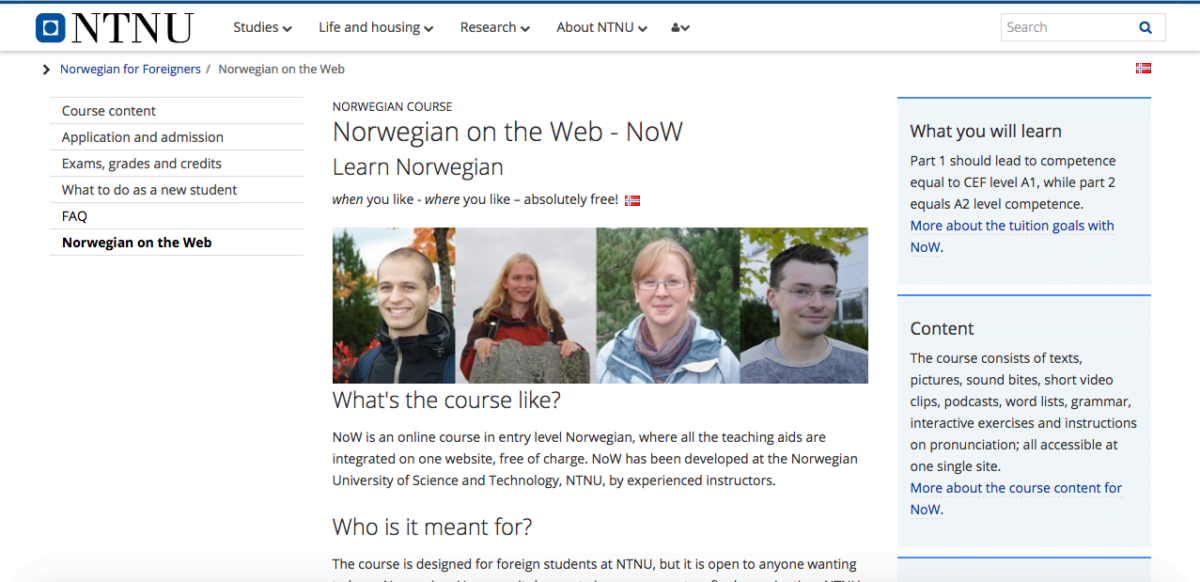 Norwegian course NTNU