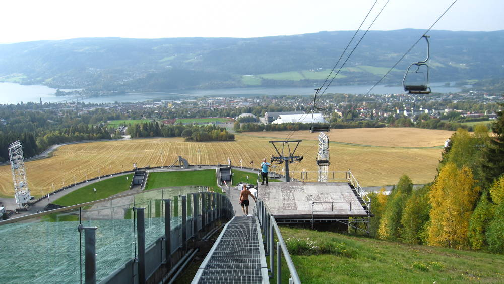 The city of Lillehammer from the top of the Olympic ski jumping complex.