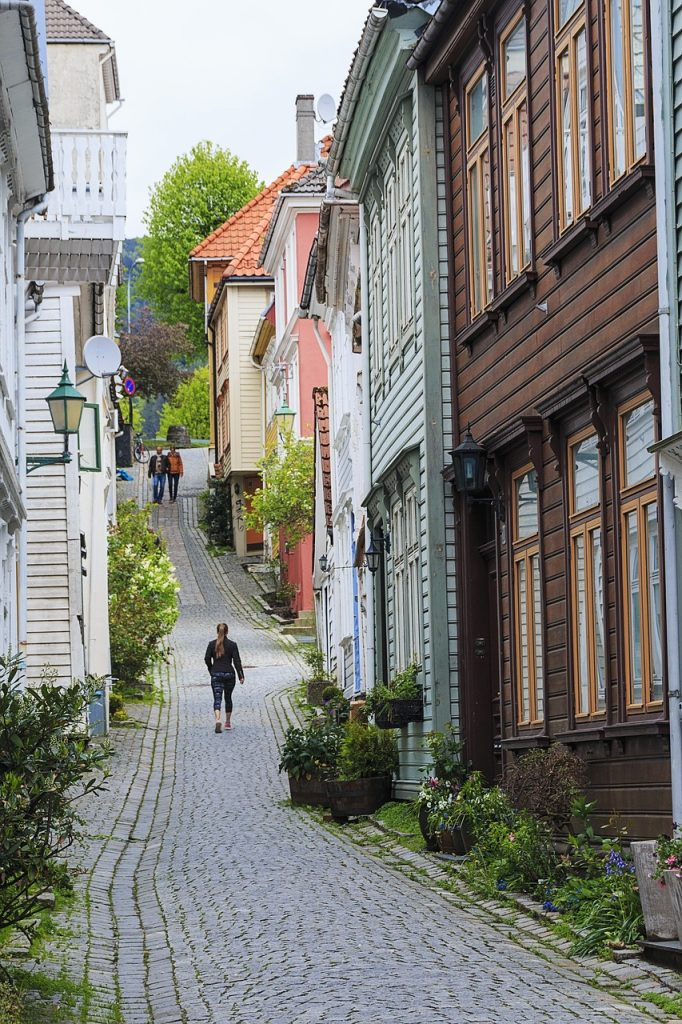 A cobbled backstreet in Bergen