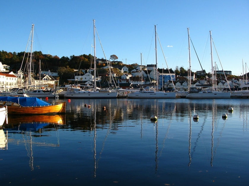 Boats in Grimstad harbour