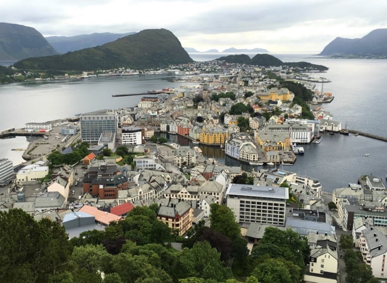 The spectacular view of Ålesund, Norway, from the Aksla viewpoint. You can walk up the stairs, or drive up!