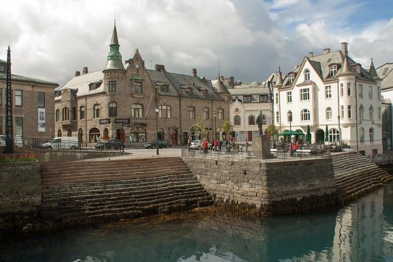 Ålesund town waterfront in Norway