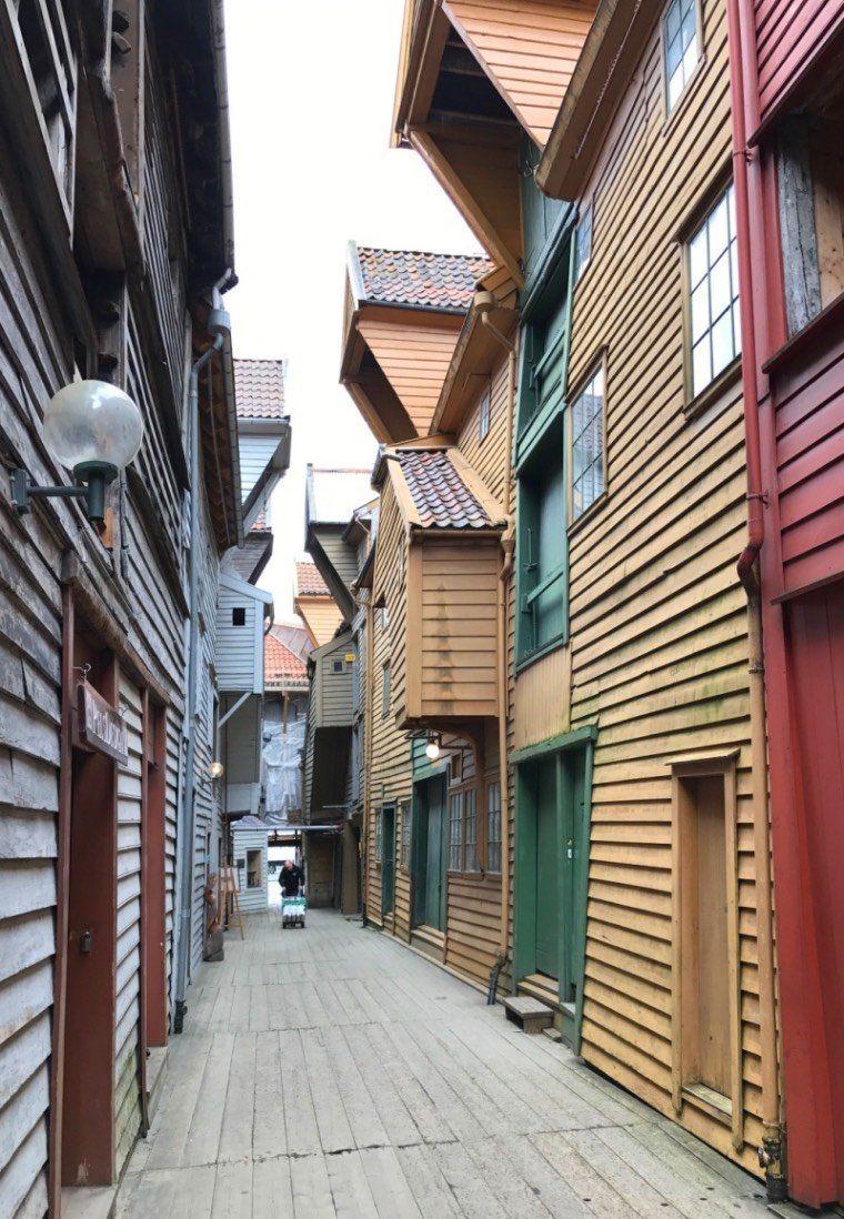 The alleyways of Bryggen in Bergen, Norway.