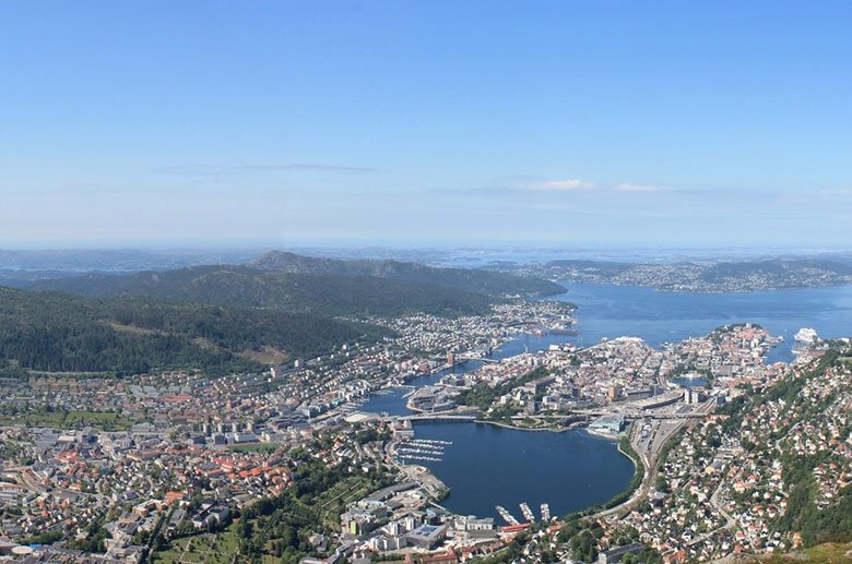 A panorama of Bergen city in Norway