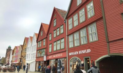 The world-famous wharf buildings at Bryggen in Bergen