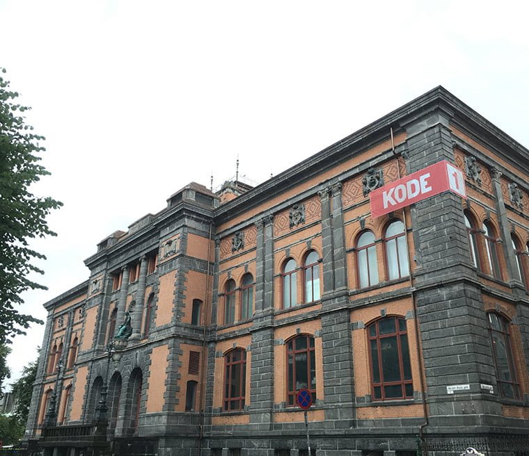 A grand building recently renovated is one of the four buildings making up Bergen's Art Gallery in Norway.