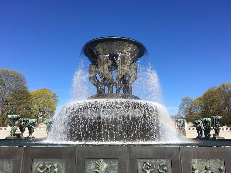 Feature fountain in Frogner Park, Oslo