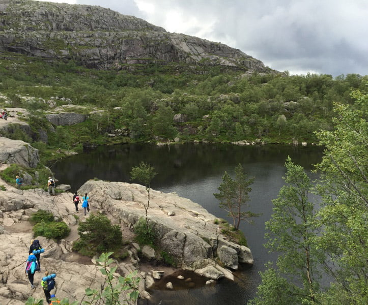 Hiking trail to Pulpit Rock in Norway