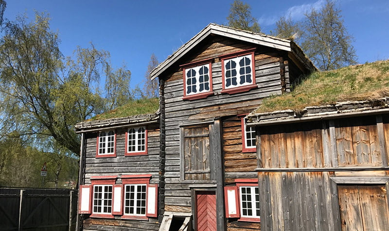 An old mining house at the Sverresborg open air folk museum in Trondheim, Norway