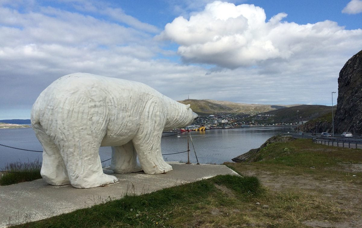 Polar Bear statue at the entrance to Hammerfest