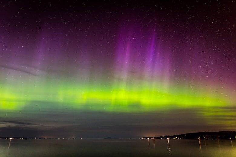 Purple and green aurora borealis in Norway
