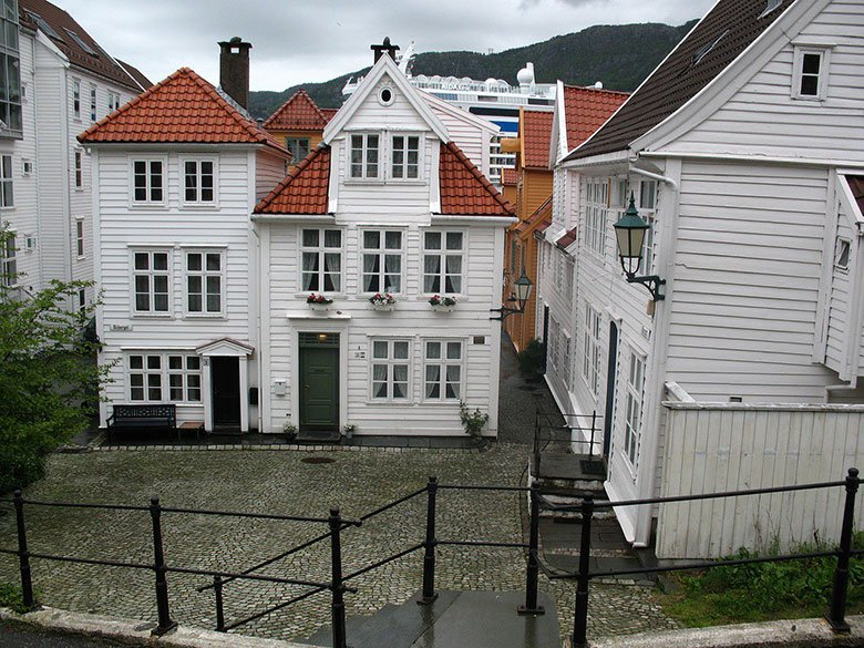 Traditional white houses in Bergen, Norway