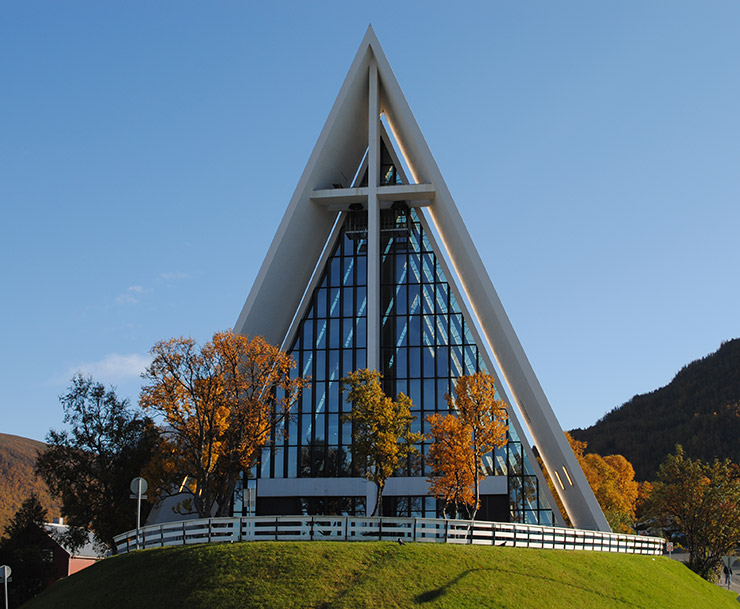 Tromsø's Arctic Cathedral in the late summer months