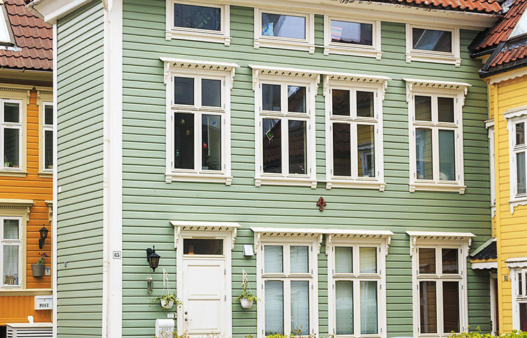 Typical architecture of Bergen city centre in Norway