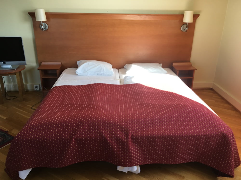 A guest room at the Vestfjord Hotel