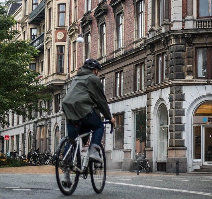 A cyclist on a Copenhagen street