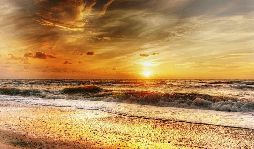 Sunset over the Danish coastline