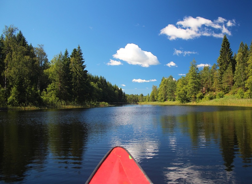 Kayaking in the Swedish lakes