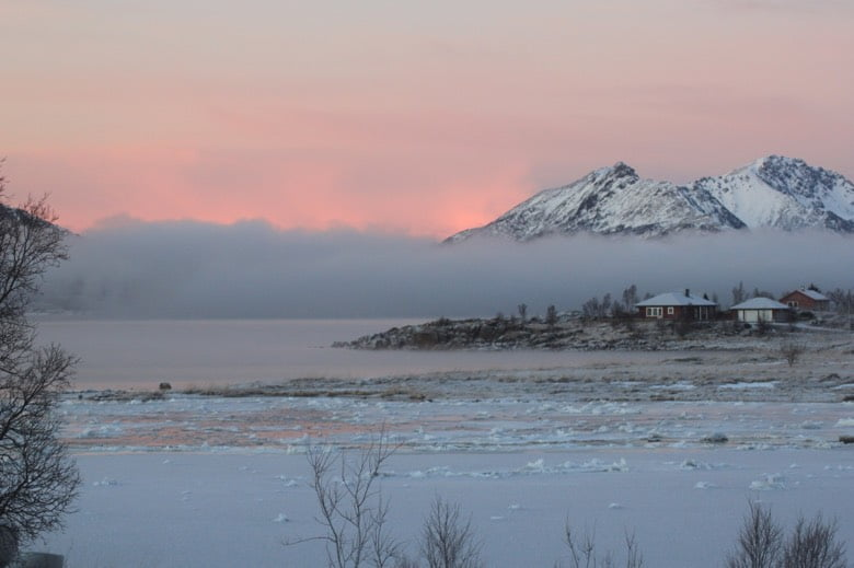 Beautiful twilight in winter Norway