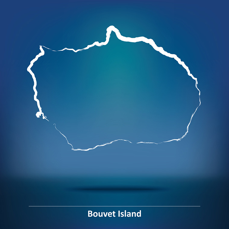A doodle outline of Bouvet Island, a Norwegian territory