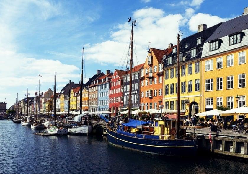 A Copenhagen canal scene in Denmark