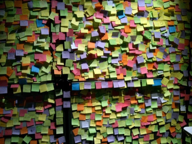 Message wall in the Nobel Peace Center