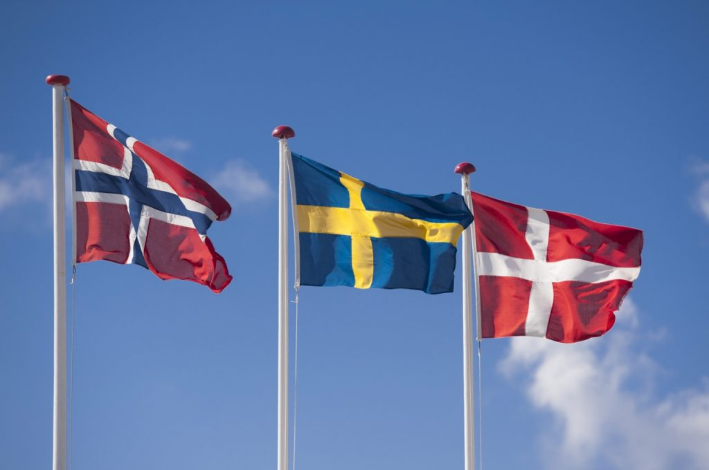 The Scandinavian flags