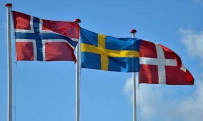 The flags of the Scandinavian countries
