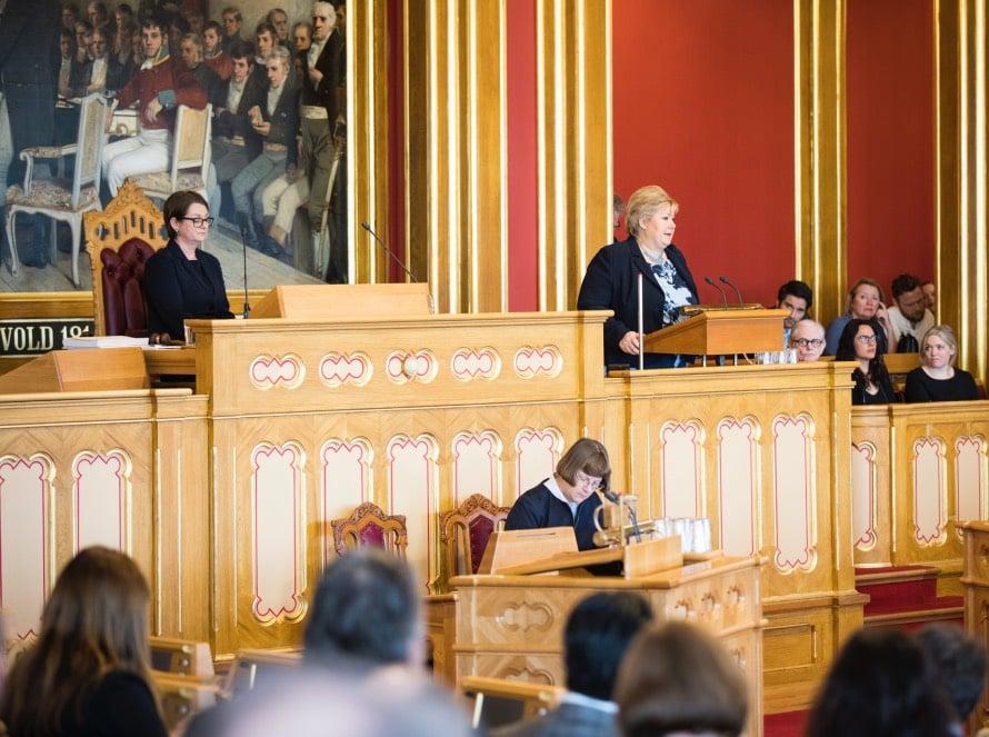 Erna Solberg in Stortinget