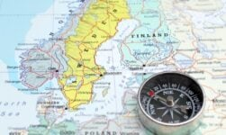 Norway and Sweden map and compass