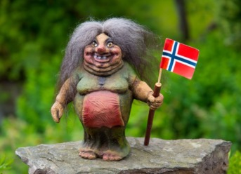 Norway troll holding a flag