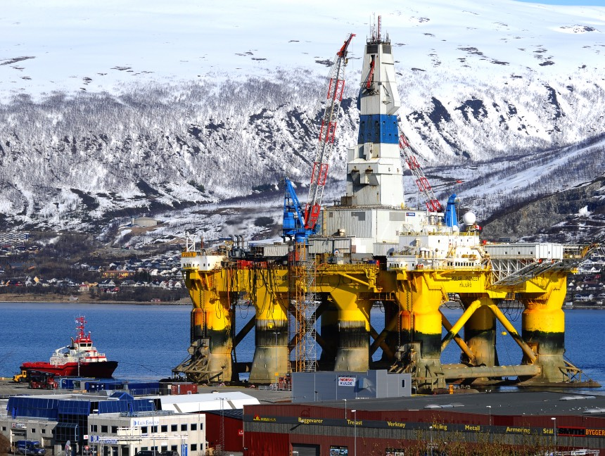 An oil rig in Tromsø harbour