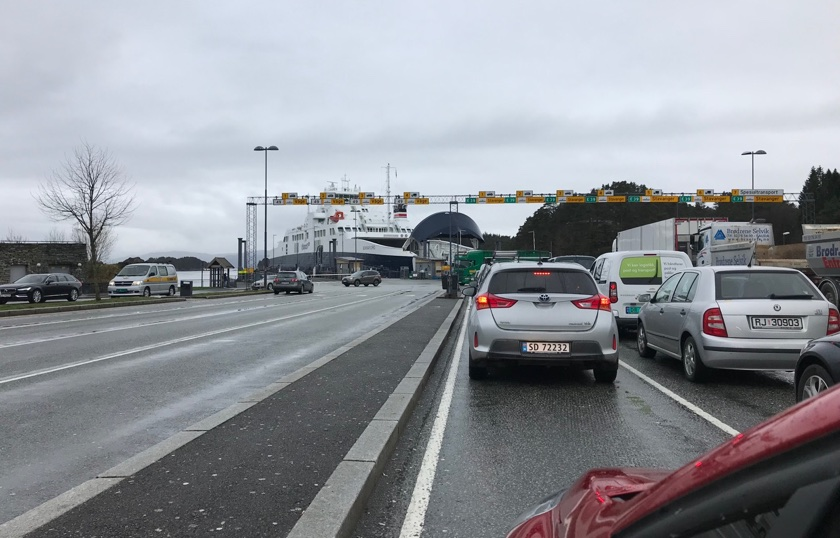 Queueing for the car ferry in Norway