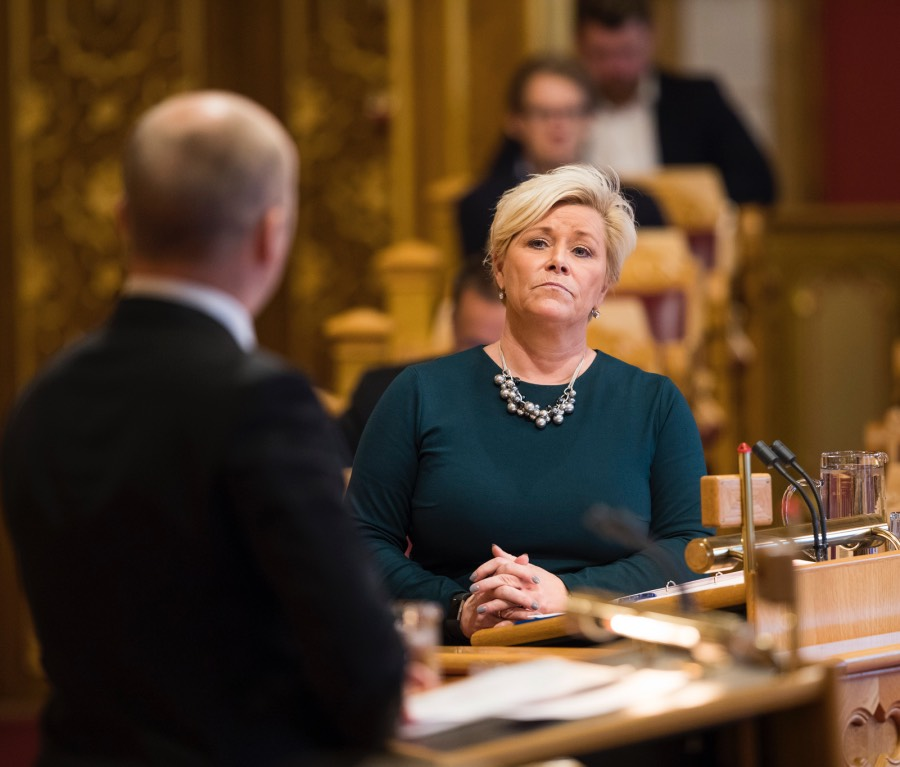 Siv Jensen speaking in Stortinget