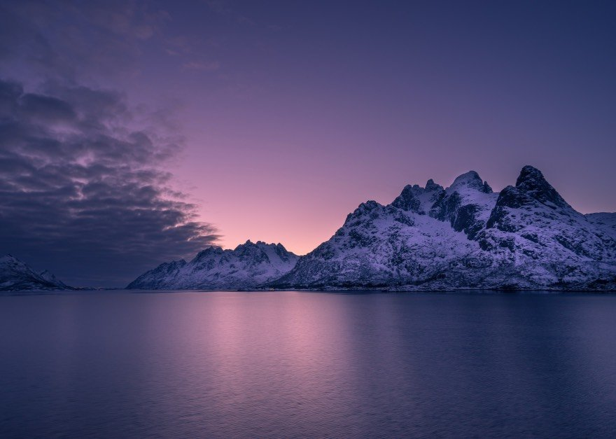 The beautiful Lofoten islands in Arctic Norway, as seen from a ship