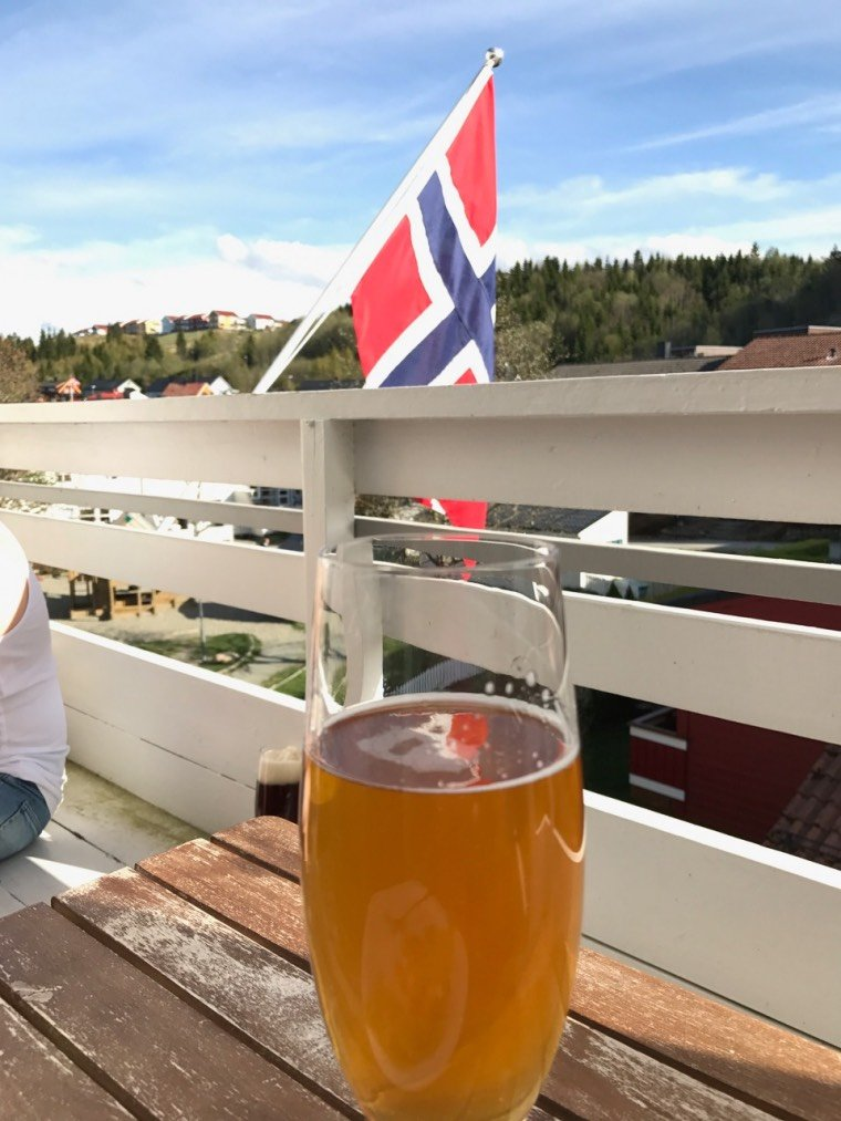 Celebrating Norway's National Day in a very British style, with a beer on our balcony.