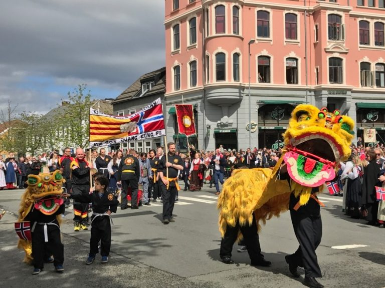 Colourful syttende mai parade in Trondheim, Norway