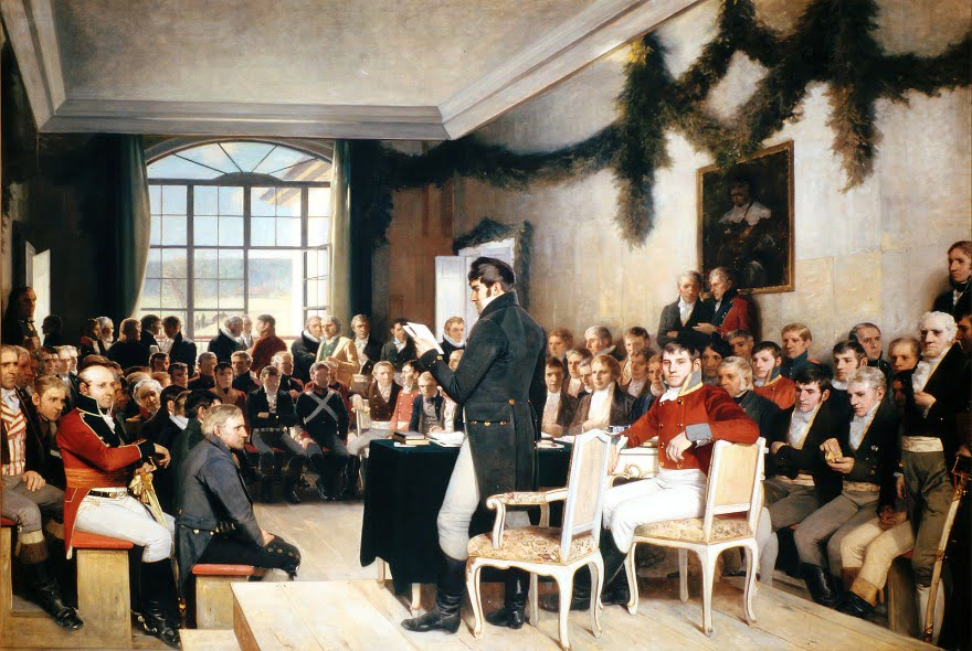 The signing of the Norwegian constitution at Eidsvoll on 17 May 1814.
