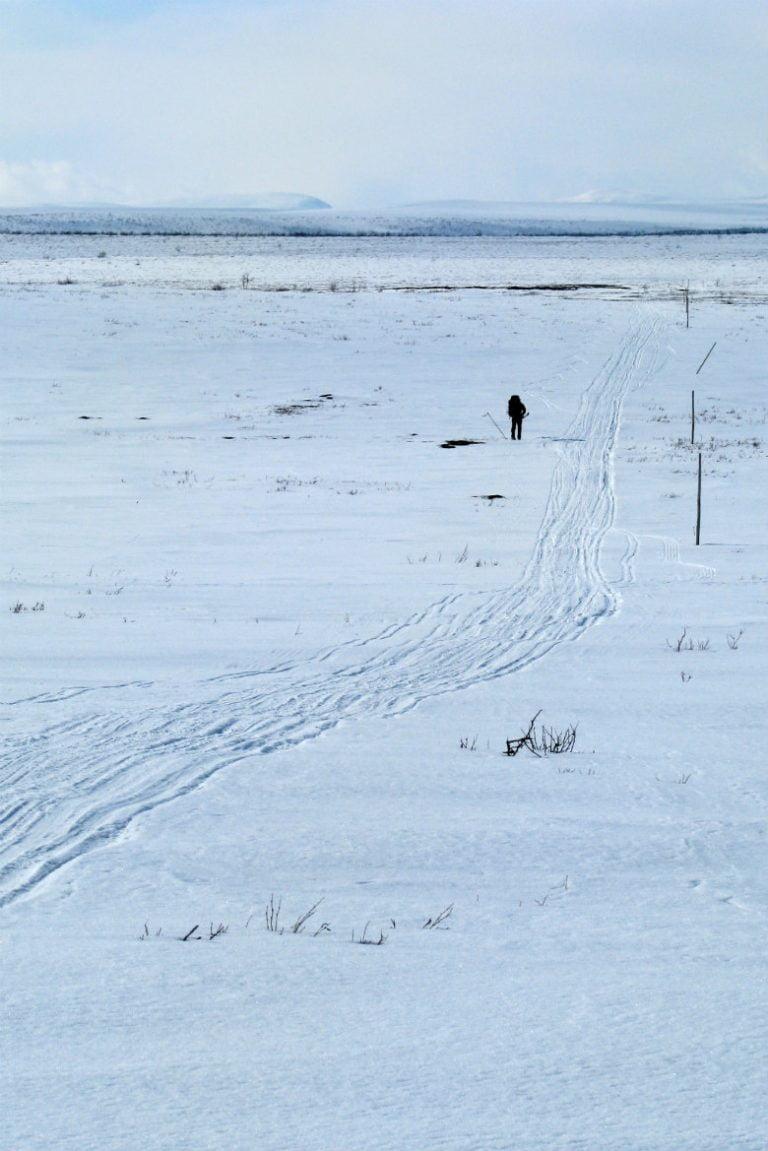 Finnmarksvidda: The Finnmark mountain plateau in the winter.