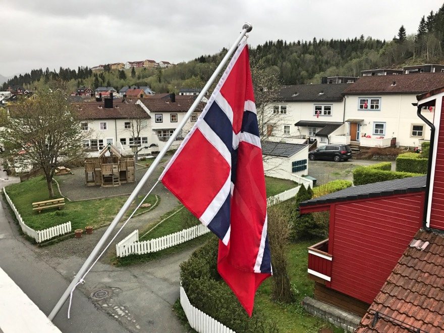 Norwegian flags outside the house on the 17th of May