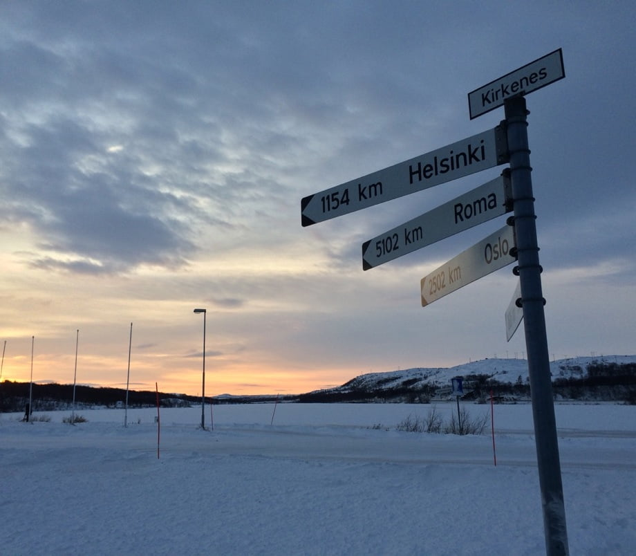 This Kirkenes signpost shows how remote the tiny Norwegian border town with Russia is.