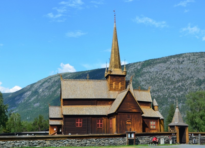 A stunning stave church in Lom, Norway
