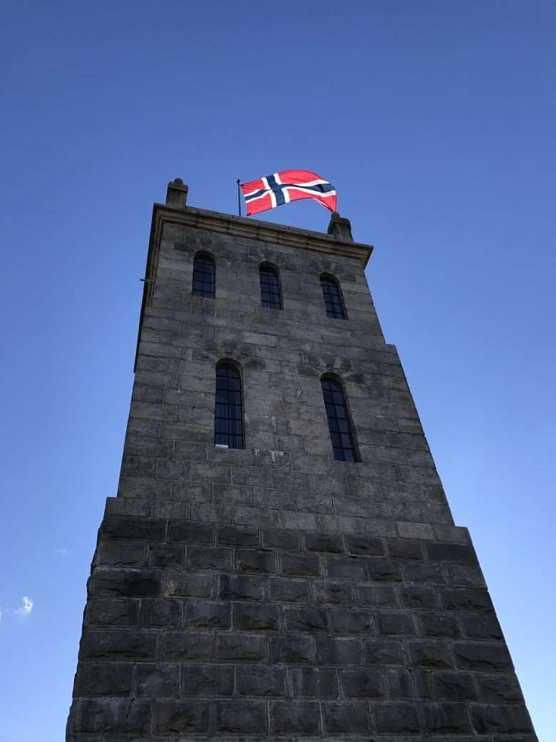 Tønsberg Tower sporting the national flag of Norway.